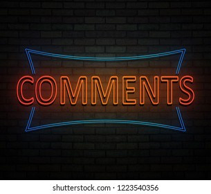 3d Illustration depicting an illuminated neon sign with a comments concept.