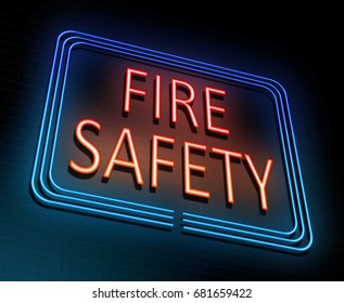 3d Illustration depicting an illuminated neon sign with a fire safety concept.