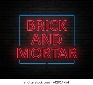 3d Illustration depicting an illuminated neon sign with a brick and mortar concept.