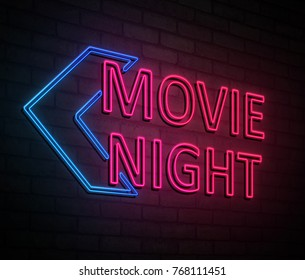 3d Illustration depicting an illuminated neon sign with a movie night concept.
