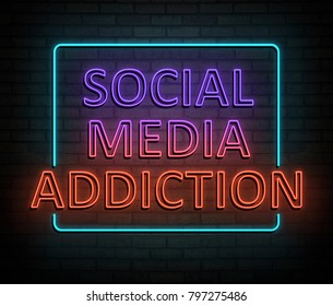 3d Illustration depicting an illuminated neon sign with a socia media addiction concept.