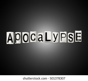 3d Illustration depicting a set of cut out printed letters arranged to form the word apocalypse.