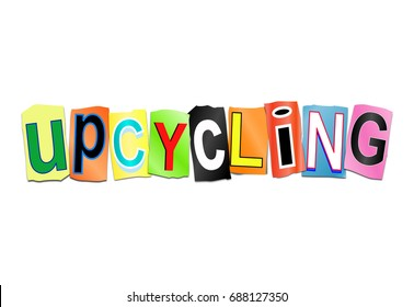 3d Illustration depicting a set of cut out printed letters arranged to form the word upcycling.