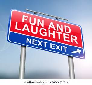 3d Illustration depicting a sign with a fun and laughter concept.