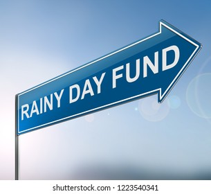 3d Illustration depicting a sign with a rainy day fund concept.