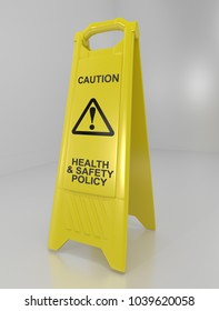 3d Illustration depicting a warning floor sign with a health and safety policy concept.
