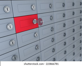 3d illustration of deposit boxes with one selected