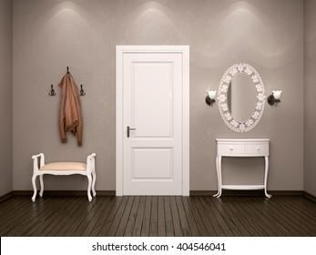 3d illustration of the design of the ambience hallway in brown colors with white furniture. White door on the output or input.