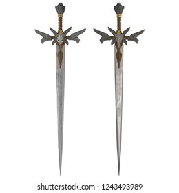 3d illustration design of a demon styled hellish metal sword front and back view isolated on white background.