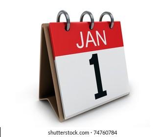 3D Illustration of a Desk Calendar on January 1