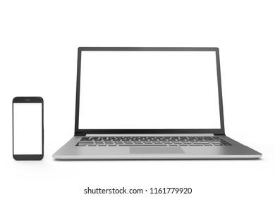 3D illustration desktop computer blank mock up. Glossy laptop computer mock up. Modern computer mock up. Perfectly detailed smartphone mock up near computer blank.