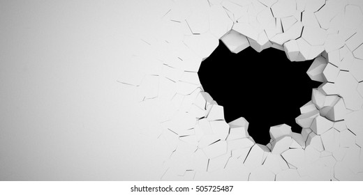 3D illustration destruction of a white wall