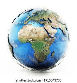 3D illustration of a detailed globe with high quality textures. 3D illustration
