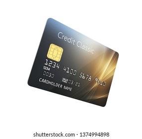 3d illustration of detailed glossy credit card isolated on white background without shadow