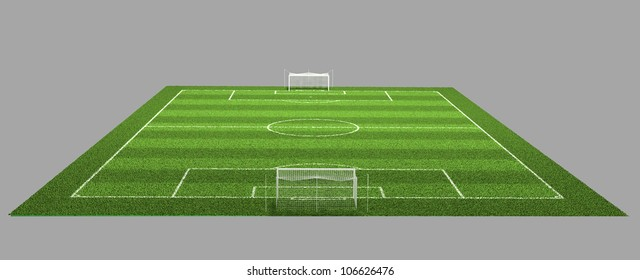 3d Illustration of Detailed Soccer Field on isolated grey background.