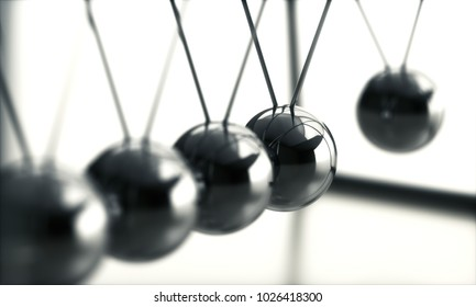 3D illustration. Device that demonstrates conservation of momentum and energy using a series of swinging spheres.