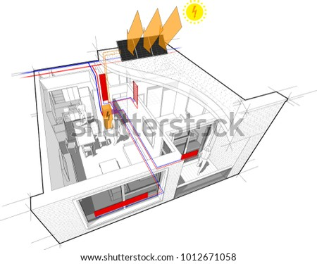 3 D Illustration Diagram Apartment Hot Water Stock Illustration ...
