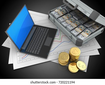 3d illustration of diagram papers and black laptop over black background with case