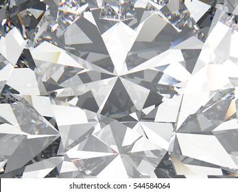 3D illustration diamond texture zoom