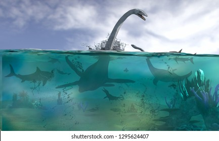 3D Illustration of different aquatic dinosaurs on a white background render 3d