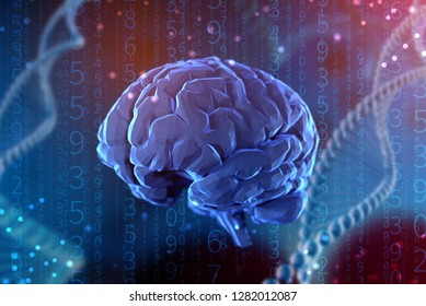 3d illustration digital brain on abstract background. The concept of artificial intelligence and the limitless possibilities of the mind