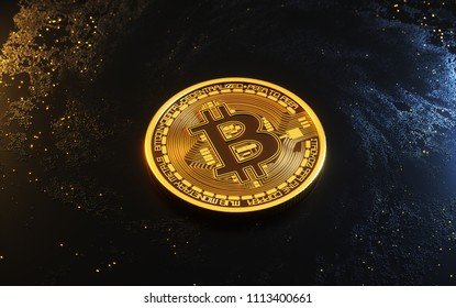 3D Illustration. Digital Currency Symbol. Bitcoin. Particle Bitcoin Model 3D Rendering.