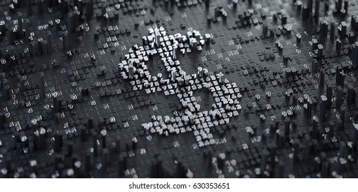 3D Illustration. Digital Currency Symbol. Dollar