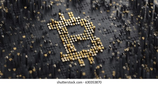 3D Illustration. Digital Currency Symbol. Bitcoin