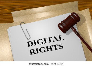 """3D illustration of """"DIGITAL RIGHTS"""" title on legal document"""
