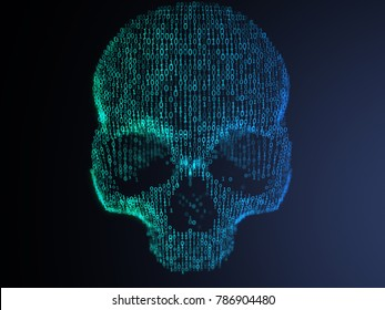 3D illustration of digital skull made from binary code. Front View