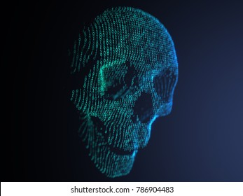 3D illustration of digital skull made from binary code. Side view with jaw
