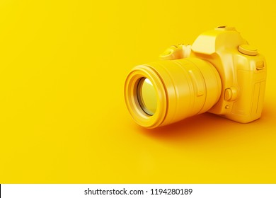 3D illustration. Digital yellow photo camera on yellow background.