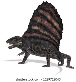 3D illustration of a dinosaur predator dimetrodon over white