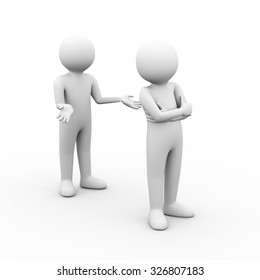 3d illustration of disagree people having conflict problems dispute. 3d human man person character and white people