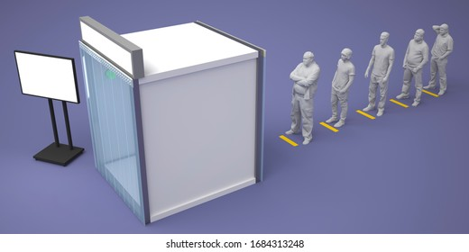 3d illustration disinfection chambers for clean people from virus corona with blank space logo company and standing portable TV information. High resolution image isoated.