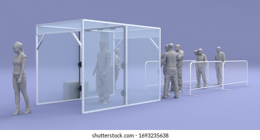 3d illustration disinfection chambers and manual check thermal gun for clean people from virus corona with blank banner information. High resolution image isolated.