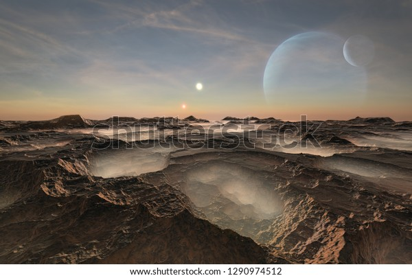 3d illustration of a distant and deserted planet lightened by two suns