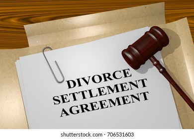 "3D illustration of ""DIVORCE SETTLEMENT AGREEMENT"" title on legal document"