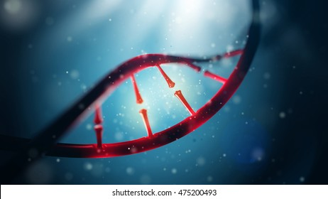 3d illustration of DNA molecule. Closeup of concept human genome.