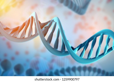 3d Illustration of DNA molecule. The helical molecule of a nucleotide in the environment of the organism. The concept of the discovery of genetically modified