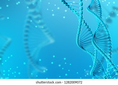 3d Illustration of DNA molecule. The helical molecule of a nucleotide in the environment of the organism like in space. Concept genome and modification of the body