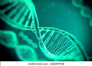 3D illustration DNA molecules structure turquoise background