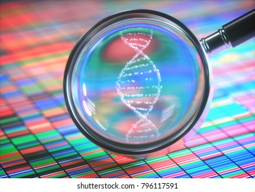 3D illustration. DNA Sanger Sequencing and a Magnifying Glass Showing the DNA Helix.