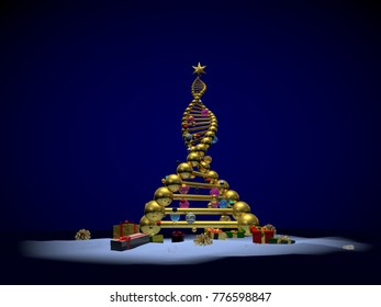 3D illustration of DNA strand as a new years Christmas tree with presents and ornaments