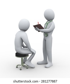 3d illustration of doctor with stethoscope writing patient medical history report. 3d rendering of man - people character