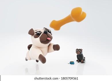 3d illustration of dog  pet dog jump pug