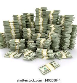 3d illustration of dollars stack over white background