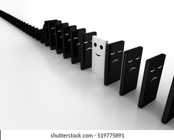 3D Illustration of domino effect, where a awake block stops the falling arrary of sleeping blocks