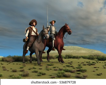 3d illustration of Don Quixote and Sancho Panza