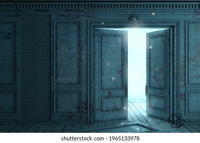 3d illustration. A door to another world or a portal. Paranormal activity. Magic.